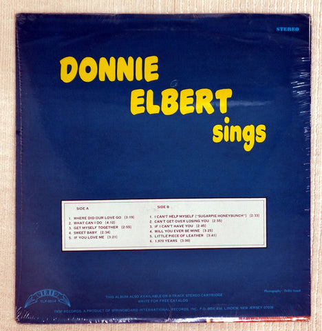 Back album cover to Donnie Elbert vinyl record Sings.