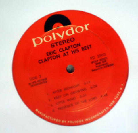 Eric Clapton - At His Best - Label Vinyl Record