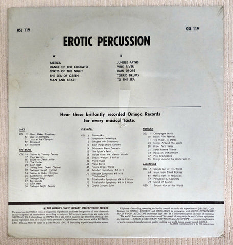 Back album cover to Erotic Percussion.