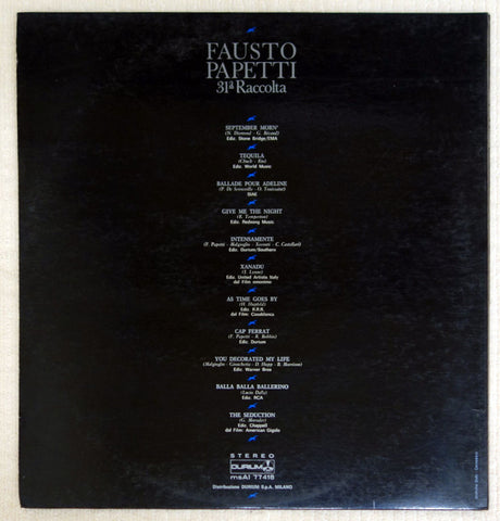 Fausto Papetti - 31a Collection - Vinyl Record - Back Cover