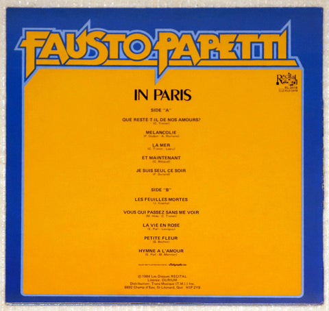 Fausto Papetti ‎– Fausto Papetti In Paris - Back Cover - Vinyl Record