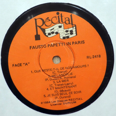 Fausto Papetti ‎– Fausto Papetti In Paris - Label - Vinyl Record