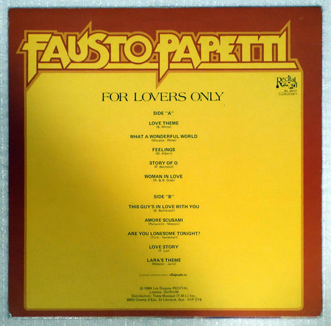 Fausto Papetti ‎– For Lovers Only - Back Cover - Vinyl Record