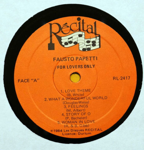 Fausto Papetti ‎– For Lovers Only - Label - Vinyl Record