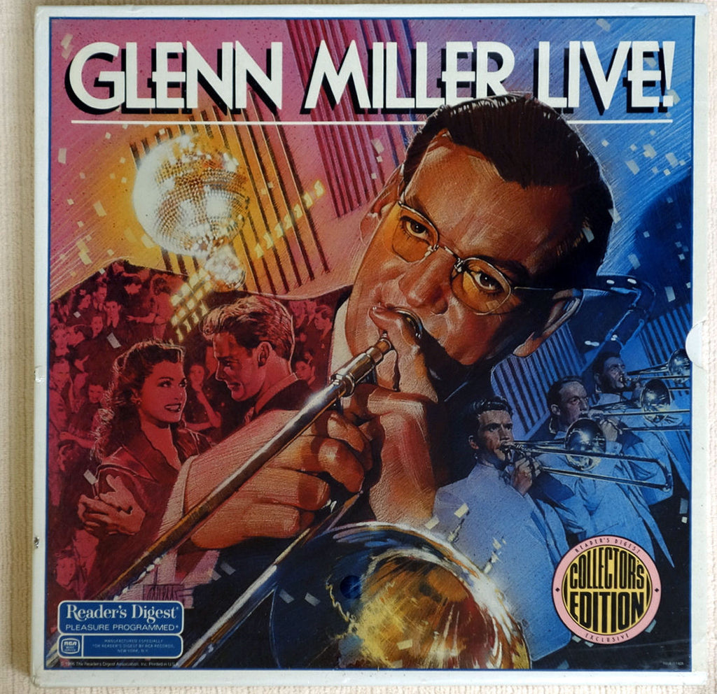 Front album cover to Glenn Miller Live vinyl record box set.