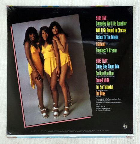 Back album cover to The Ikettes vinyl record (G)old & New.