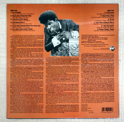 Back album cover for James Brown Greatest Hits vinyl record.