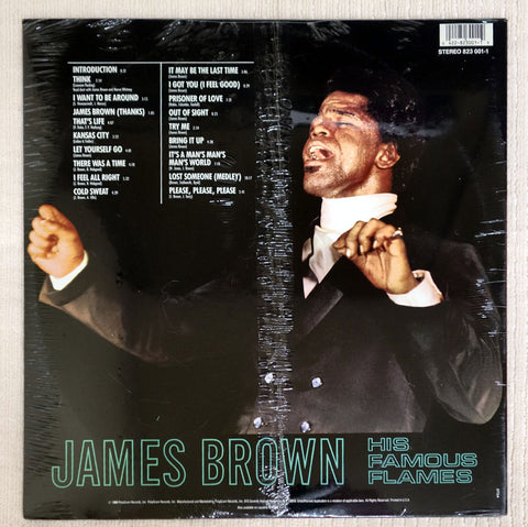 Back album cover to James Brown vinyl record Live At The Apollo.