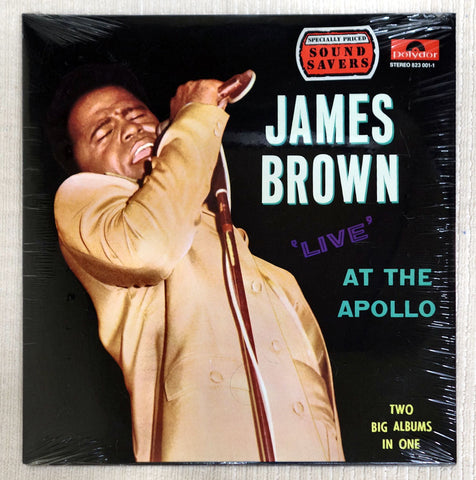 Front album cover to James Brown vinyl record Live At The Apollo.