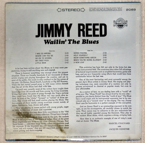 Back album cover to Jimmy Reed vinyl record Wailin' The Blues.