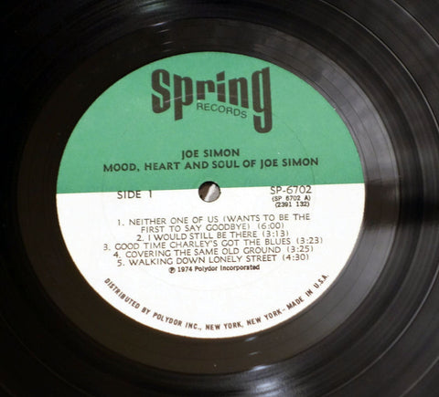 Joe Simon ‎– Mood, Heart And Soul - Label - Vinyl Record