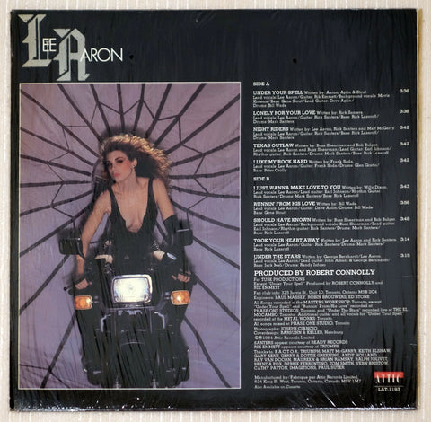 Lee Aaron ‎– Lee Aaron - Back Cover - Vinyl Record