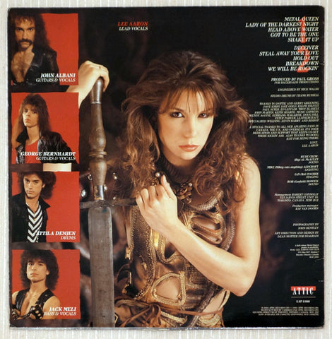 Lee Aaron ‎– Metal Queen - Back Cover - Vinyl Record