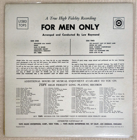 Back album cover For Men Only vinyl record by Lew Raymond