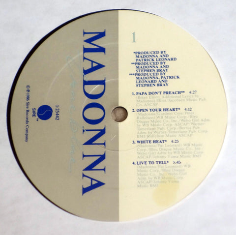 Madonna True Blue 1986 vinyl record label