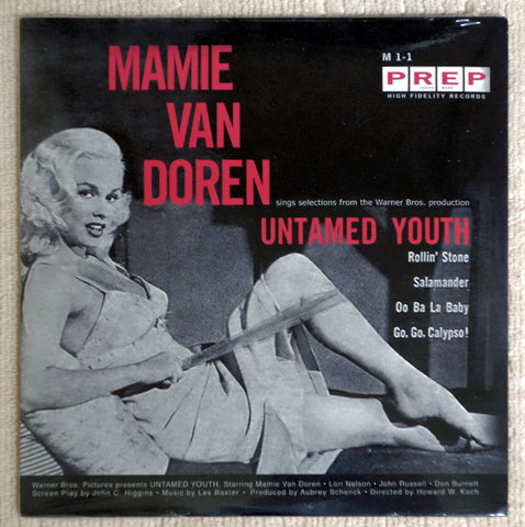Front album cover to Mamie Van Doren vinyl record Untamed Youth.
