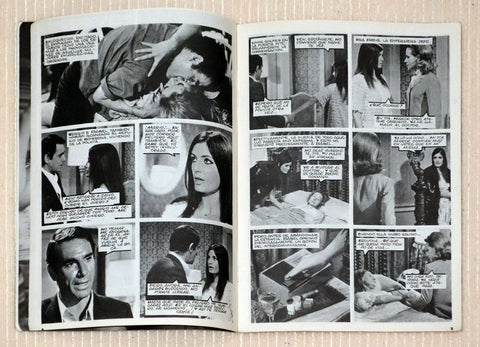 Comic book style pages for a photo novella starring Marisa Mell