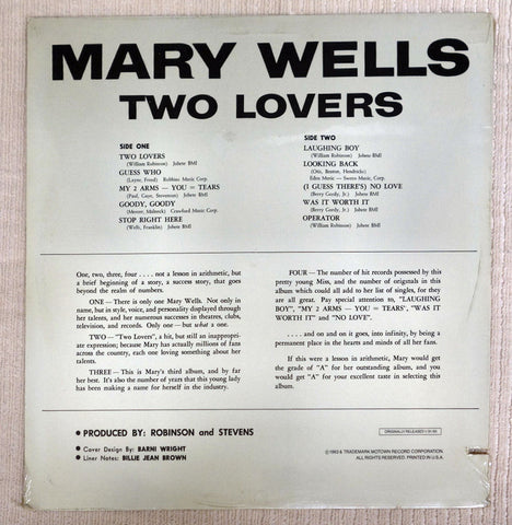 Back album cover to Mary Wells vinyl record Two Lovers.