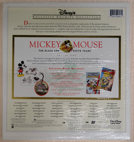 Mickey Mouse The Black & White Years - Laserdisc - Back Cover