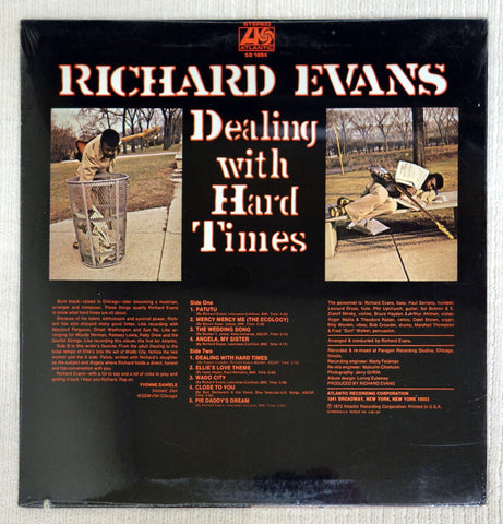 Back album cover to Richard Evans vinyl record Dealing With Hard Times.