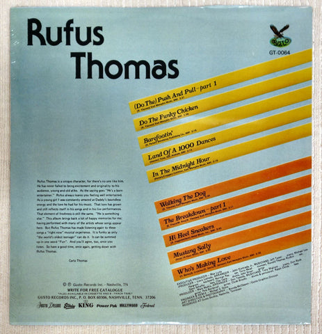 Back album cover for Rufus Thomas vinyl record.