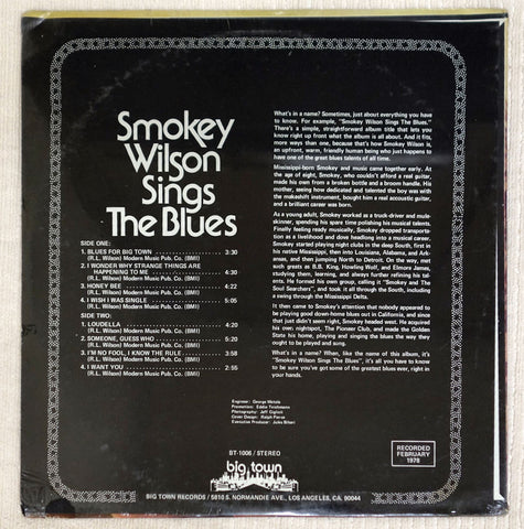 Back album cover for Smokey Wilson vinyl record Sings The Blues.