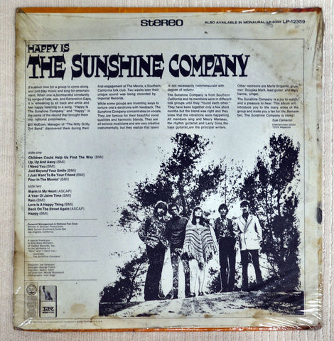 Back album cover to The Sunshine Company vinyl record Happy Is.