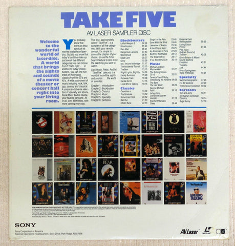 Take Five AV Laser Sampler Disc Back Cover