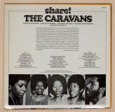 The Caravans Share! Back Cover Vinyl Record