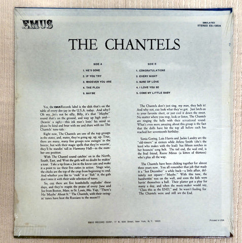 Back album cover for The Chantels record