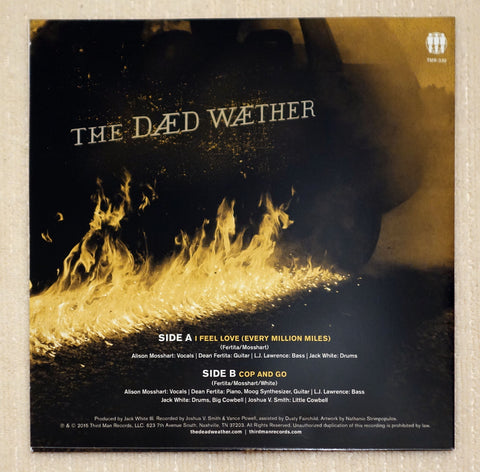 "The Dead Weather ‎– Dodge And Burn - Vault 25 Limited Edition - Exclusive 7"" Single Back Cover"