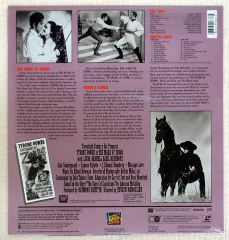 The Mark Of Zorro Laserdisc - Back Cover