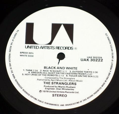The Stranglers ‎– Black And White - Label - Vinyl Record