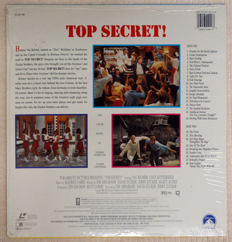 Top Secret Laserdisc - Back Cover