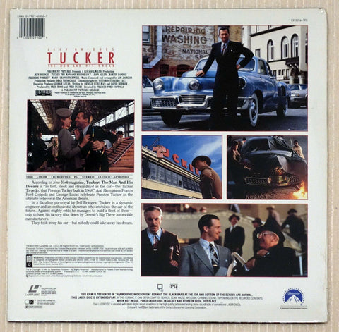 Tucker The Man and His Dream - Back Cover - Laserdisc
