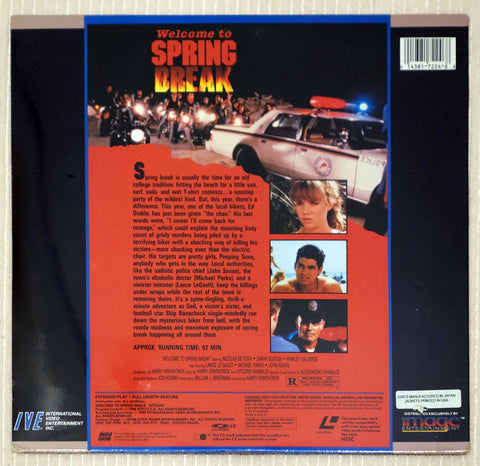 Welcome to Spring Break (Nightmare Beach) - Back Cover - Laserdisc