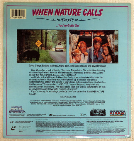 When Nature Calls Laserdisc - Back Cover