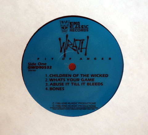 Wrath Fit Of Anger vinyl record label.