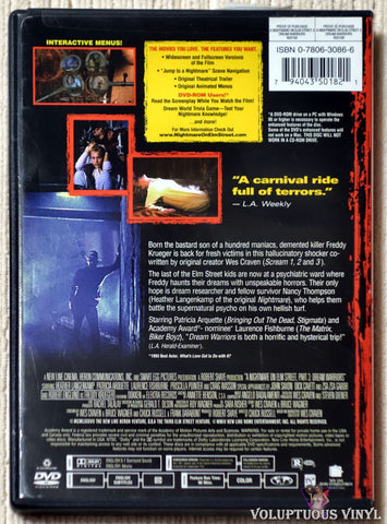 A Nightmare On Elm Street 3: Dream Warriors DVD back cover