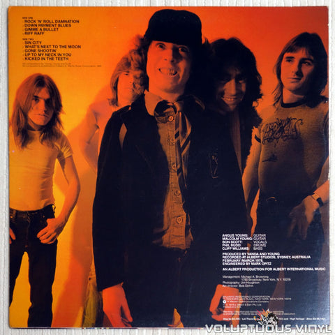 AC/DC ‎– Powerage - Vinyl Record - Back Cover