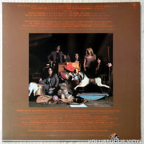 Aerosmith ‎– Toys In The Attic - Vinyl Record - Back Cover