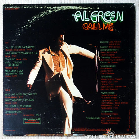 Al Green ‎– Call Me vinyl record back cover