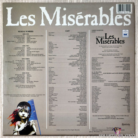 Alain Boublil And Claude-Michel Schönberg ‎– Les Misérables vinyl record back cover