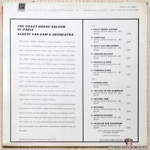 Albert Van Dam And Orchestra ‎– The Crazy Horse Saloon Of Paris vinyl record back cover