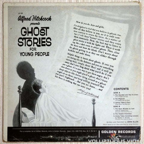 Alfred Hitchcock ‎– Alfred Hitchcock Presents Ghost Stories For Young People - Vinyl Record - Back Cover