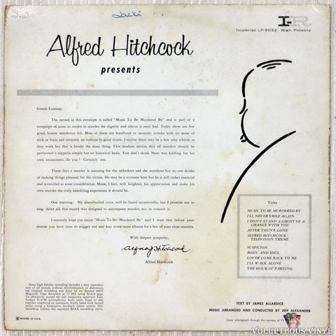 Alfred Hitchcock ‎– Presents Music To Be Murdered By vinyl record back cover