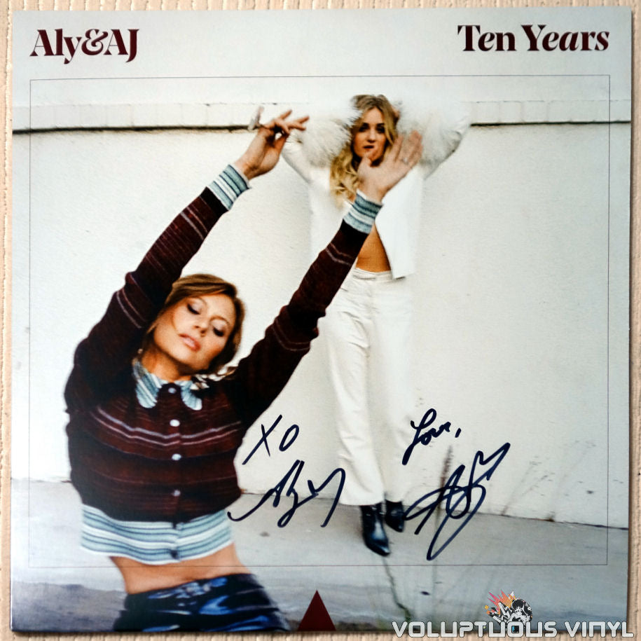 Aly & AJ Ten Years vinyl record autographed front cover