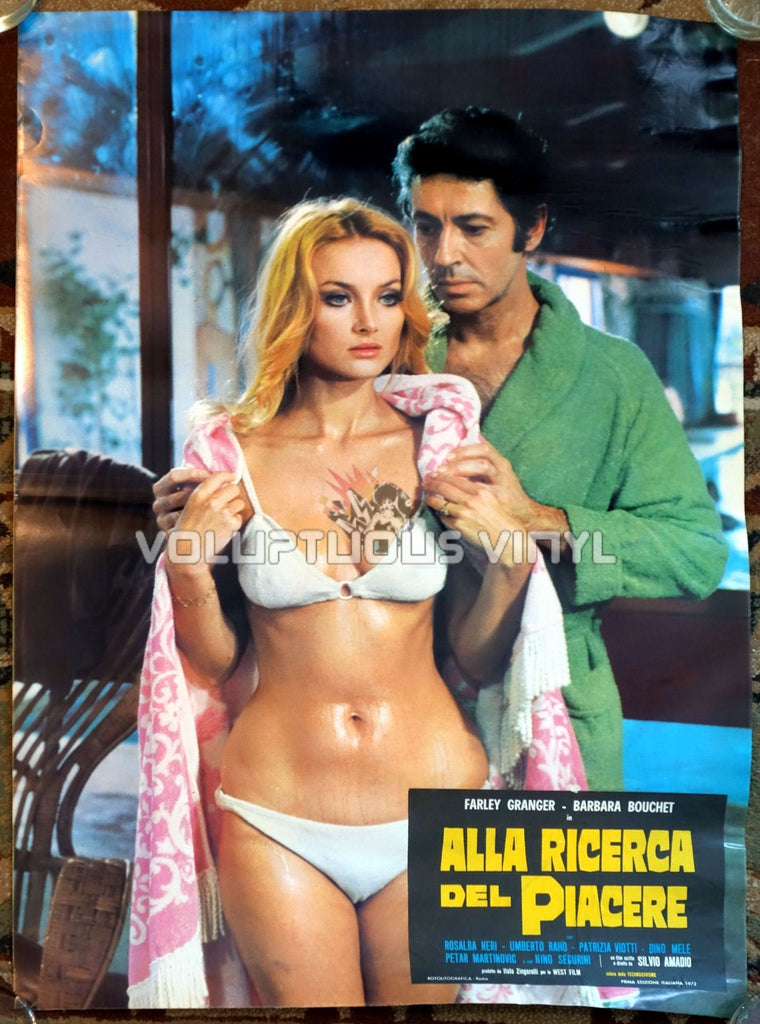 Barbara Bouchet wet in sexy white bikini Italian movie poster