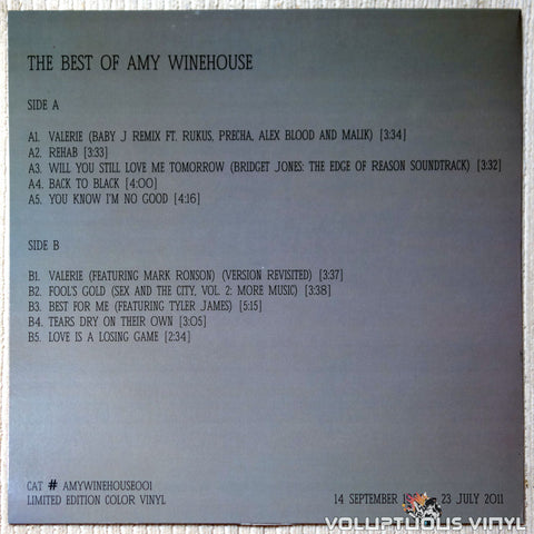 Amy Winehouse ‎– The Best Of Amy Winehouse vinyl record back cover