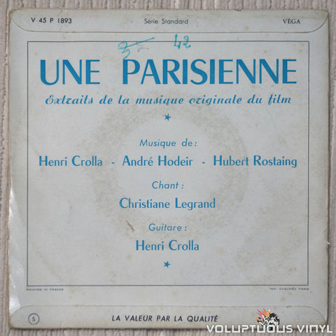 André Hodeir, Henri Crolla, Hubert Rostaing – Une Parisienne vinyl record back cover